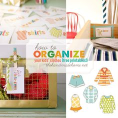 10 free homeschool printables - The Handmade Home Kids Clothes Organization, Closet Organization, Handmade Home, Drawer Labels, Kid Closet, Illustrations, Getting Organized, Kids And Parenting, Decoration
