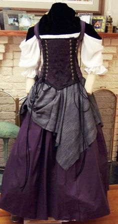 Renaissance Corset Dress purple Witch Wench custom Gown costume by zachulascrypt on Etsy Renaissance Clothing, Renaissance Fair Costume, Renaissance Outfits, Medieval Costume, Wench Costume, Costume Dress, Gypsy Costume, Medieval Dress, Gothic Fashion