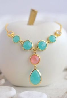 Turquoise and Coral Pink Jewel Pendant Statement Necklace in Gold