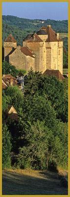 châteaux de Saint-Hilaire XIVe siècle et de Plas XVIe siècle qui surplombent le village classé de Curemonte.