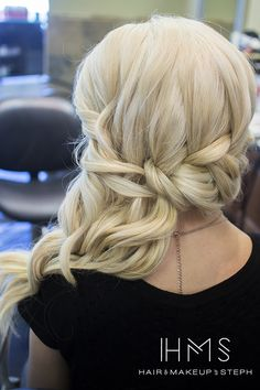 Braided side swept hair