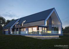 Traditional home by Architecture firm: LK & Projekt Modern Family House, Modern Barn House, Barn House Plans, New House Plans, Modern House Design, Bungalow Exterior, Modern Farmhouse Exterior, Gable House, House Roof