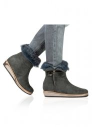 Flat wedge ankle boots in teal blue suede Pura López