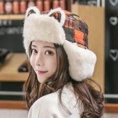 6b316eac8b448 Winter plaid bomber hat with cat ears for women fleece warm ear flap hats