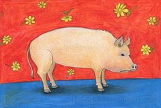 Drawing of a pig with floating flowers by chlola on Etsy