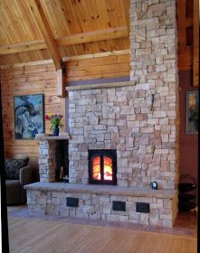 contraflow heater by Brian Klipfel. Our bedroom is above the heater so it is possible we could put a very small warming bench up there. Not sure how that would work. Foyers, Rocket Mass Heater, Stone Masonry, Stone Veneer, Wood Shed, Stair Steps, Stove Fireplace, Rocket Stoves, Building A House