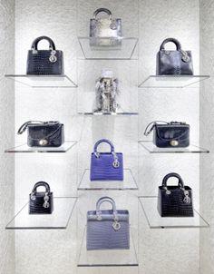 Christian Dior. Floating handbag display.