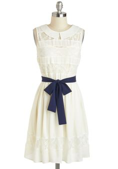 You Look Fete-ching Dress - Mid-length, Cream, Blue, Solid, Lace, Peter Pan Collar, Belted, Casual, A-line, Sleeveless, Collared, Daytime Party, Graduation, Vintage Inspired, 30s