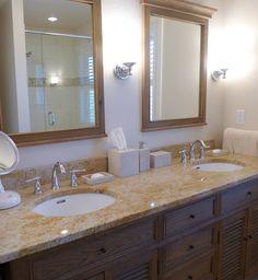 Double Vanity | Park City, UT - Madura Gold granite provided by Accent Interiors Park City, Granite Countertops, Double Vanity, Bathroom Ideas, Bathrooms, Interiors, Mirror, Gold, Furniture