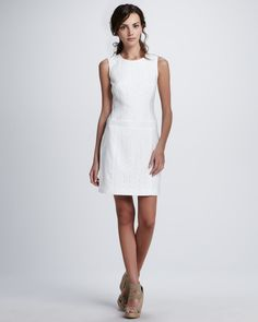 36962324 Laundry by Shelli Segal SLEEVELESS LACE AND LINEN DR - White Cocktail Dress  Neiman Marcus Dresses