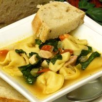 Onions, garlic, spinach, and tomatoes boost this chicken soup with cheese tortellini recipe. It is fast and easy to make using pre-made tort...