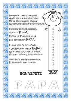 Carte poème pour la fête des papas French Language, Fathers Day, Compliments, Preschool, Parenting, Bullet Journal, Education, Blog, Fun