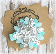 Snowflake Hair Clip Glitter Snowflake Clip Frozen by Ribbonhabit