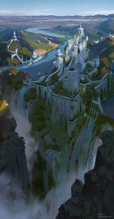 Asianada Empire, yi zheng auf ArtStation bei www. - Asianada Empire, yi zheng auf ArtStation bei www. Fantasy Artwork, Fantasy Art Landscapes, Fantasy Concept Art, Fantasy Landscape, Landscape Art, Landscape Concept, Fantasy City, Fantasy Castle, Fantasy Places