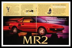 9ad87d7fc86 1985 Toyota MR2 Ad Red Wall Art Home Decor by 3rdStVintagePaper Mr2 Car