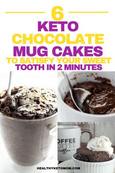 Are you craving something sweet and chocolatey like right now? Try one of these delicious and easy keto chocolate mug cake recipes to curb your hunger for something sweet and absolutely delicious right now. All of these mug cakes are low carb and won't b Keto Foods, Ketogenic Recipes, Keto Snacks, Low Carb Recipes, Ketogenic Diet, Keto Desserts, Diet Recipes, Healthy Recipes, Cake Mug