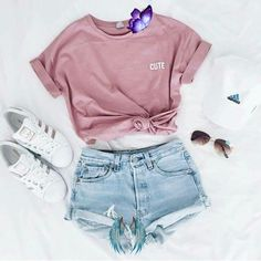 Live your Dream    Outfit classics<br> Cute Summer Outfits For Teens, Sporty Summer Outfits, Outfits Casual, Summer Ideas, Teen Fashion, Fashion Outfits, Swag Fashion, Fashion Shorts, Fashion Black