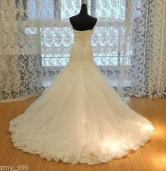 Sexy Lace Applique White/Ivory Lace Wedding Dress