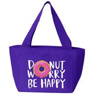 Donut Worry, Be Happy Insulated Lunch Bag (Purple) Insulated Lunch Bags, Reusable Tote Bags, Purple Bags, Back To School, Happy, Ser Feliz, Entering School, Back To College, Being Happy