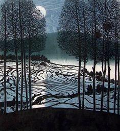 Shi Yi (Chinese printmaker, b. 1939) - Winter moon, 1999, Colour Woodcut