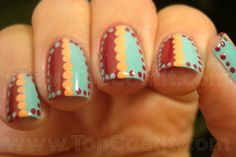 Dotticure dots nail art design in mint berry and peach