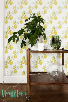 DESCRIPTION Transform any room in your home into a fruit paradise with this self adhesive wallpaper! This vinyl wallpaper features a print of yellow lemon wall decals. Yellow lemons ar paired with lig