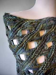 Maja shawl pattern on knitty, somilar effect could be achieved with Tunisian Chain Lace