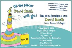 Oh the Places you'll go Graduation invitations