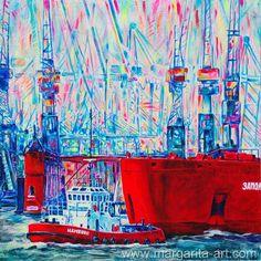Original GEMÄLDE Faszination HAMBURG Hafen 100x100 von Art & Design aus Hamburg auf DaWanda.com