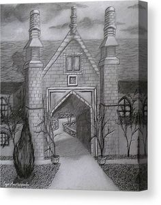 Canvas Print, house,building,architectural,exterior,medieval,rural,oldtimes,era,stylish,roof,yard,garden,archway,entrance,doorway,chimneys,north,european,scene,moody,winter,cold,calm,quiet,peaceful,serene,tranquil,beautiful,artistic,detailed,black,and,white,realism,sketch,sketches,drawing,pencil,graphite,charcoal,chalk,paper,in,at,by,of,with,for,a,the,fine,artwork,home,office,decor,products,items,for sale,online,fine art america