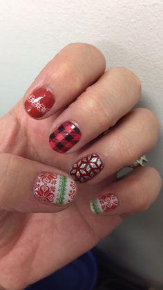 Christmas socks, Flanel Friday and geo diamond over cardinal lacquer. jamberry nails by Raina
