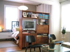 Your apartment's exact set-up. This is extremely practical - I love this idea. We could add a panel so that you couldn't see the back of the TV from your bedroom.
