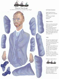 Vincent Van Gogh DIY Paper Puppet Doll, via Etsy. P&P: an example of a printable sheet, with instructions. Paper Puppets, Paper Toys, Paper Dolls Printable, Paper People, Vintage Paper Dolls, Paper Models, Vincent Van Gogh, Famous Artists, Softies