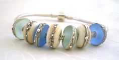 Rolling Stones - Blues .. beads to fit European charm bracelets by Lush Lampwork .. UK SRA via Etsy