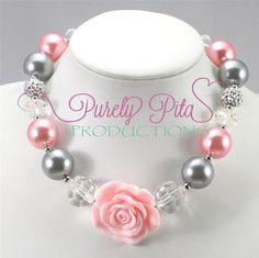 Children Chunky Necklace, Girls Bubblegum Chunky Necklace, Grey Pink Necklace, Pink Rose Necklace, Children Jewelry. Kids Jewelry