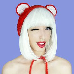 Hot Chilli Red Bear Ear Warmers by pixielated.
