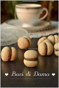 Any secret .: Baci di dame with hazelnuts Biscotti Biscuits, Biscotti Cookies, Cake Cookies, Mini Desserts, Frozen Desserts, Healthy Desserts, Peach Cookies, Sweet Cookies, Christmas Food Gifts