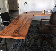 L-shaped Desk. Reclaimed wood desk. wood and by UrbanIndustrialNW