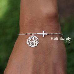 Celebrity Style Sideways Cross bracelet with monogrammed initials charm