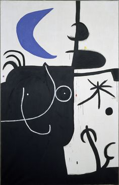 Miro Femme devant la lune II (Woman in Front of the Moon II) April 15, 1974 Acrylic on canvas 269.5 x 174 cm / 106 1⁄10 x 68 1⁄2""
