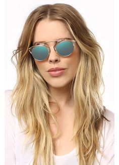 So Real 2 Thin Bar Color Mirror Flat Top Sunglasses