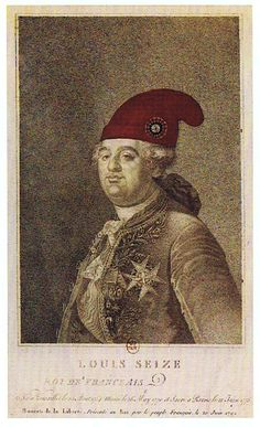 Louis XVI, King of the French, 1792. The 1775 engraving, a typical portrait of the king at the time, was reworked in 1792 to record the king's donning of the Pyrigian cap during the invasion of the Tuilleries Palace by Parisian sans-culottes in July 1792.