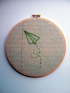 Embroider paper planes on fabric for lampshade?? And embroider it on a loom to tie it in!!!
