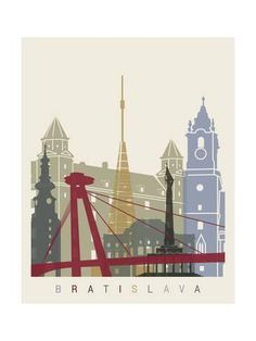 Art Print: Bratislava Skyline Poster by paulrommer : Bratislava, Travel And Tourism, Travel Posters, Framed Artwork, Find Art, Venice, Rome, Skyline, Spirit