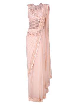 Kamaali couture presents Pink floral motifs and alser cutwork drape saree available only at Pernia's Pop Up Shop. Drape Sarees, Saree Draping Styles, Saree Styles, New Designer Dresses, Indian Designer Outfits, Designer Wear, Stylish Sarees, Stylish Dresses, Salwar Kameez