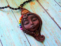 Chakra Goddess Necklace, Mother Earth Tigers Eye Goddess Pendant