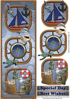 Sail Away Sail Away Sail Away on Craftsuprint designed by Janyce Cotterill - I could hear Enya singing Sail Away, Sail Away, Sail Away (Orinoco Flow) to me as I designed this sheet. I hope you know it! The background has a water effect with all items relating to sailing, creatures of the sea, land and air.An easy design to cut out and put together along with choices of two sentiments. Just a lovely theme to put away those winter blues and think of sea blues for the Spring and Summer ahead…