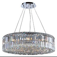 Contemporary 12 Light Chrome Finish and Faceted Clear Crystal Large Chandelier Measures 28 inches in diameter x 7.5 inches high.