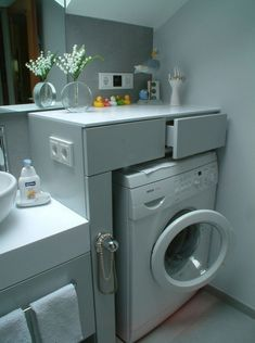 To make small laundry room attractive and functional, good organization is crucial. It is a real challenge to make good organization of the small laundry Small Laundry Rooms, Laundry In Bathroom, Small Bathroom, Bathroom Interior Design, Interior Design Living Room, Living Room Designs, Contemporary Bathrooms, Washing Machine, Diy Home Decor