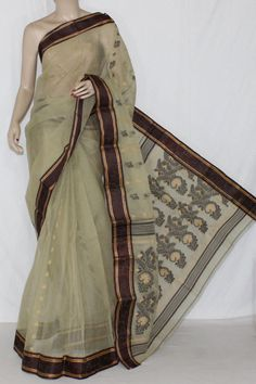 Pista Green Handwoven Bengali Tant Cotton Saree (Without Blouse) 14178